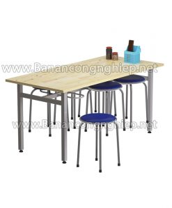 Bàn ăn công nghiệp BA16ST dành cho 6 người ngồi, chân sắt sơn tĩnh điện bề mặt bàn gỗ tự nhiên ghép thanh