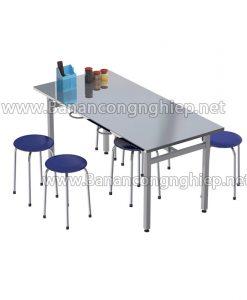 Bàn ăn công nghiệp BA16Si 1m6 dành cho 6 người ngồi, có móc treo ghế đôn