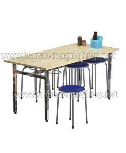 Bàn ăn công nghiệp BA16it, chân inox mặt bàn gỗ công nghiệp ghép thanh