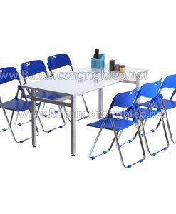 Bàn ăn công nghiệp chân sắt sơn tĩnh điện, mặt bàn Composite
