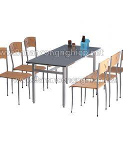Bàn ăn công nghiệp BAK16Si,  chân sắt sơn tĩnh điện, mặt bàn Inox sáng bóng.