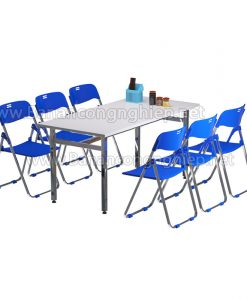 Bàn ăn công nghiệp BAK16iC, bàn ăn 1m6 dành cho 6 người chân inox bề mặt composite