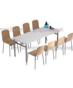 Bàn ăn công nghiệp 6 chỗ, chân sắt sơn, mặt bàn Composite